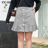 中大尺碼  口袋荷葉擺短裙~共兩色 - 適XL~4L《 68013 》CC-GIRL