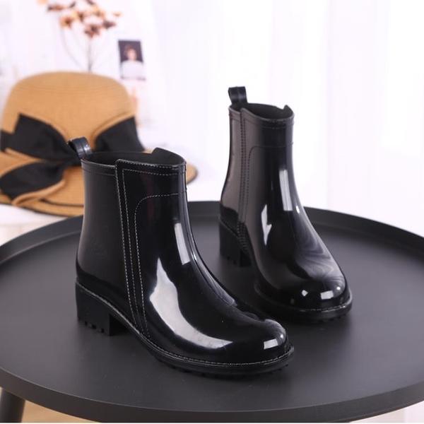 雨鞋女短筒韓國可愛成人膠鞋時尚款外穿水鞋雨靴防水套鞋加絨保暖 喵小姐