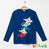 印花長袖T恤04海藍-bossini男童
