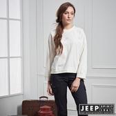 【JEEP】女裝 甜美落肩短版長袖TEE (白)