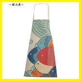 廚房圍裙加厚棉麻 時尚可愛韓版無袖圍裙 創意親子防油做飯圍腰【櫻花本鋪】