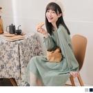 《DA8001-》微甜日系網紗拼接小拋袖...
