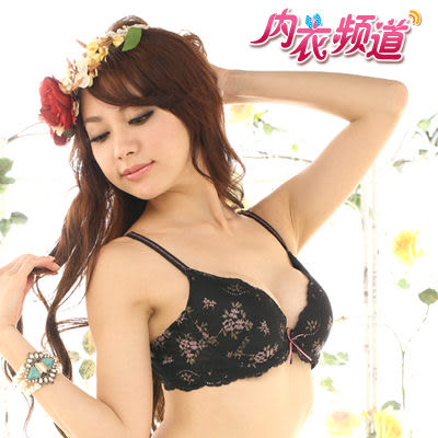 內衣頻道♥7911 台灣製 深V爆乳設計 法式立體緹花蕾絲胸罩 -B罩 黑色