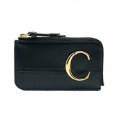 【台中米蘭站】全新品 CHLOE C logo 滑面牛皮拉鍊零錢卡包(黑)