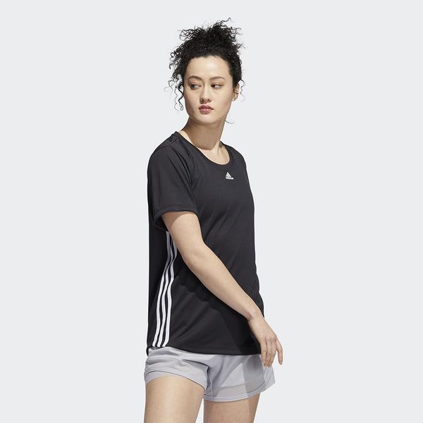 ADIDAS 3-STRIPES 女裝 短袖 訓練 乾爽 加長設計 弧形下擺 黑【運動世界】FT3073