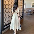 方領洋裝 2021年法式新款長裙早春氣質設計感小眾桔梗茶歇連身裙小個子女夏 晶彩 99免運