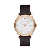【Emporio Armani】Classic美式經典極簡風時尚真皮腕錶-白玫金/AR2502/台灣總代理公司貨享兩年保固