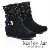★零碼出清★Keeley Ann 星耀閃爍 ~真皮金屬釦環內增高刷毛短靴(黑)