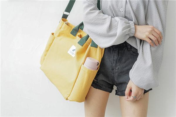 帆布袋 撞色 搭釦 帆布袋 單肩包 環保購物袋--手提/單肩/斜背【SPS54】 BOBI  07/19