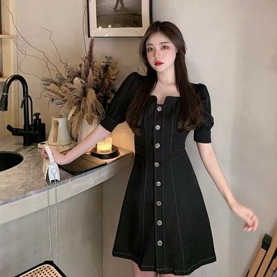 洋裝大碼連身裙赫本風御姐輕熟顯瘦小黑裙4F103 胖妹大碼女裝