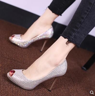小鄧子奢華水鑽氣質高跟鞋春夏季露趾魚嘴鞋歐美風優雅細跟宴會鞋水晶鞋