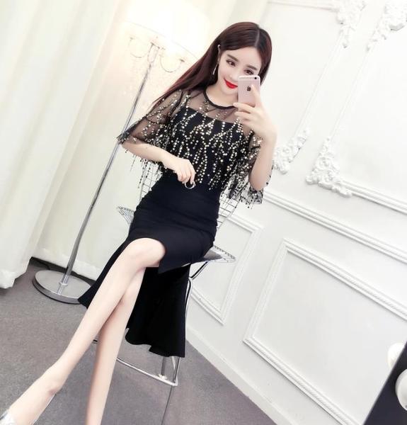 俏皮套裝女兩件套夏季韓版網紗亮片上衣高腰包臀不規則魚尾半身裙