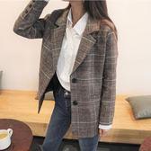 秋冬韓版短款小個子chic復古寬鬆深咖色格子毛呢西裝外套女