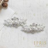 韓國直送手工銀白花冠水鑽珍珠鞋扣鞋夾配飾