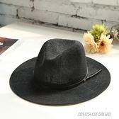 夏季新款禮帽韓版遮陽帽英倫女帽子男士草帽黑色爵士帽    傑克型男館