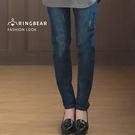 牛仔彈性長褲--經典個性風撞色壓線抓破彈性修長顯瘦丹寧直筒褲(藍M-3L)-C94眼圈熊中大尺碼