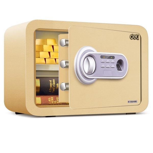 得力保險櫃家用小型迷你保險箱辦公指紋密碼鑰匙防盜保管箱床頭櫃
