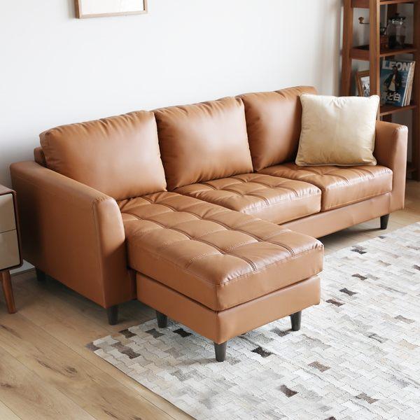 L型沙發  三人+凳 AFRA阿芙拉L型皮沙發/3色/H&D東稻家居