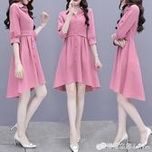 春秋女裝新款中長法式成熟風職業襯衫洋裝子時尚輕熟風氣質