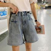 中大尺碼五分褲 牛仔短褲女潮外穿寬鬆韓版大碼胖mm顯瘦高腰中褲 LJ2268【艾菲爾女王】
