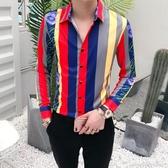 襯衫男長袖修身厚款正韓帥氣男士發型師休閒襯衣彩色條紋印花寸衫