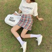 韓版chic格子包臀裙女夏季新款氣質高腰修身短裙A字半身裙 衣櫥秘密