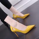 鉚釘高跟涼鞋 女鏤空細跟高跟鞋【多多鞋包店】z870