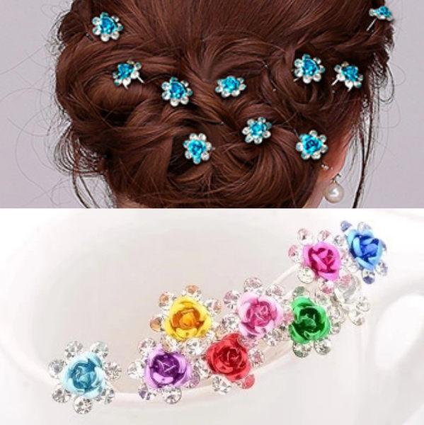 夏日 清涼 水鑽 簪子 髮簪 水晶 韓版 玫瑰花 髮簪 新娘盤髮飾 髮飾