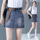 牛仔半身裙女2020年夏季新款a字型一步裙高腰顯瘦薄款包臀短裙潮 果果輕時尚