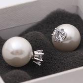 氣質前后S925純銀珍珠耳釘耳環銀飾女韓版潮