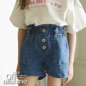 女童短褲 高腰花苞綁帶牛仔短褲 韓國外貿中大童 QB allshine