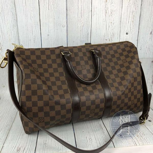 BRAND楓月 LOUIS VUITTON LV N41428 棋盤格 KEEPALL 45 肩背包 行李袋 旅行包