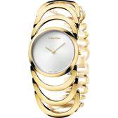 Calvin Klein CK Ladies 設計師手環錶-銀x香檳金/29mm K4G23526