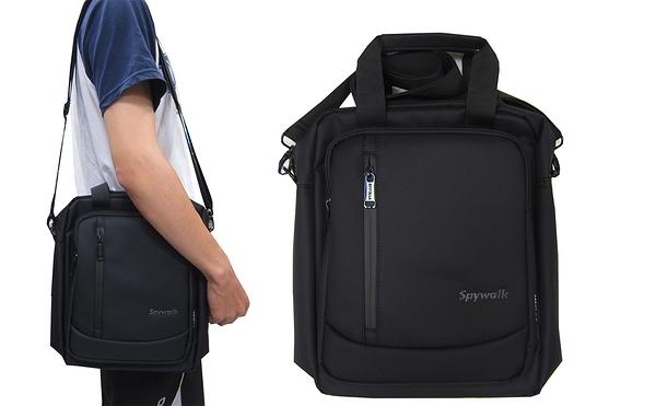 ~雪黛屋~SPYWALK 肩側手提包中容量8吋平板扁包主袋+外袋共四層肩背可斜側背防水尼龍布SD9203