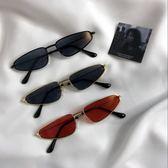 新款凹造型復古超小框三角形眼鏡金屬太陽鏡網紅同款貓眼墨鏡