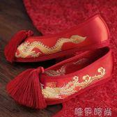 紅色婚鞋 新娘婚鞋紅色佈鞋龍鳳鞋結婚千層底繡花鞋流蘇女鞋中式秀禾鞋 唯伊時尚