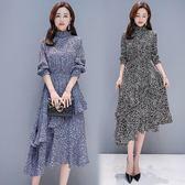 雪紡碎花洋裝 長袖連身裙春裝女復古半高領荷葉邊不規則裙擺打底裙-小精靈