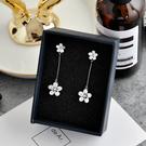 【NiNi 】夾式耳環 氣質甜美閃亮鋯石花朵925銀針耳環 夾式耳環 E0239