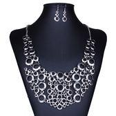 項鍊鍍銀+耳環-時尚鏤空圓圈連接女毛衣鍊73nt27【時尚巴黎】