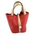 【奢華時尚】HERMES X刻印-橘紅色搭粉膚色牛皮銀釦Picotin PM小水桶包(九成新)#25175