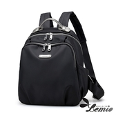 【Lemio】防潑水牛津布 超輕量 多層次後背包(魅力黑)