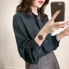 VK精品服飾 韓國風時尚純色寬鬆燈籠袖雪紡長袖上衣