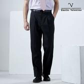 【Emilio Valentino】簡約沉穩紳士雙摺涼爽西褲_黑細條