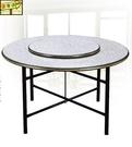 [ 家事達 ]DF- B289-1  木心板鐵腳圓餐桌-白石-4尺圓   特價 限送中部