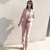 西裝套裝含外套+九分褲(兩件套)-修身休閒純色時尚女西服2色73xs16【巴黎精品】