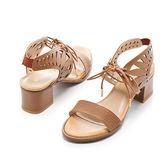 ★早春新品★【Fair Lady】獨特縷空綁帶繞踝一字粗跟涼鞋-棕