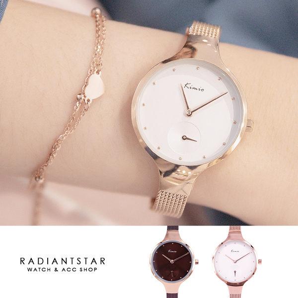 韓國KIMIO黎明曙光簡約單眼秒針金屬米蘭鍊帶手錶【WKI6332】璀璨之星☆