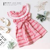 純棉 圓領荷葉邊蕾絲甜美綁帶小洋裝 棉麻 無袖 夏日 格紋 哎北比童裝