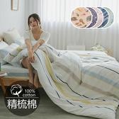 《多款任選》205織活性印染精梳純棉5x6.2尺雙人床包+枕套三件組-台灣製(不含被套) [SN]