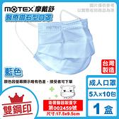 摩戴舒 MOTEX 雙鋼印 成人醫療鑽石型口罩 (藍色) 5入X10包/盒 (台灣製造 CNS14774) 專品藥局【2001020】